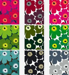 The classic Marimekko pattern. Apparently the designers at Marimekko were banned from designing floral patterns, but this got through. Marimekko Bedding, Marimekko Fabric, Marimekko Wallpaper, Marimekko Dress, Motifs Textiles, Textile Patterns, Print Patterns, Floral Patterns, Fabric Design