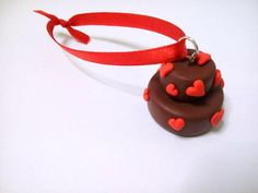 Lovely Cake Christmas Ornament Double decker chocolate by youfimo