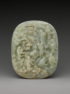 Table Screen with Landscape Scene :: Period: Qing dynasty (1644 - 1911) Date: 18th - 19th century Culture: China Medium: Jade (nephrite) Dimensions: H. 8 3/8 in. (21.2 cm); W. 5 1/16 in. (12.8 cm); D. 1 1/4 in. (3.1 cm) Classification: Jade Credit Line: Gift of Heber R. Bishop, 1902 Accession Number: 02.18.617a, b