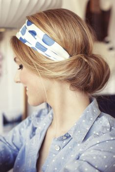 low bun + head scarf.