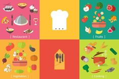 Cooking set, vegetables and fruits. by Yapanda on @creativemarket