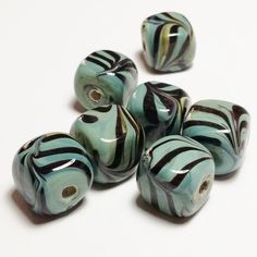 10pcs Artisan Swirl Lampwork Beads - Green Cube Beads - Handmade Beads - Unusual Beads - Focal Beads - 12x12mm - G17