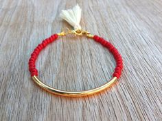Gold tube bracelet Beaded Bracelet beaded bangle by Haneelove, $9.00