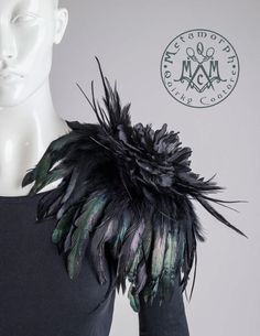 Shoulder corsage Feather flower epaulet with black feathers and huge flower brooch shoulder pad accessory $75.44 USD by MetamorphDK, based in Denmark and selling on Etsy