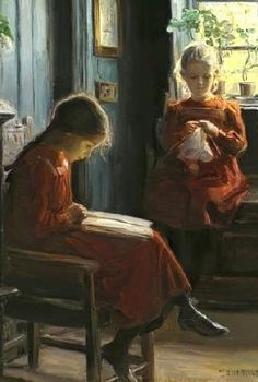 Afternoon Pasttimes, detail. Knud Erik Larsen...  Lembra-me Laura and Mary.