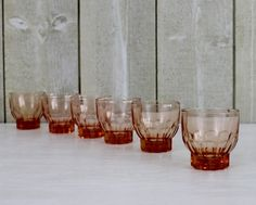 Pink Peach Liqueur Shot Glasses - 1950s - Set Of 6 - French Kitchen Vintage by OhlalaCamille on Gourmly