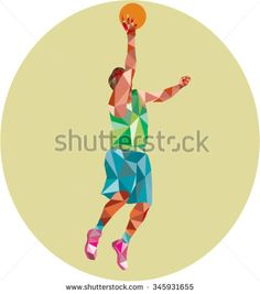 Low polygon style illustration of a basketball player lay up rebounding ball set inside circle. Polygon Art, Sports Art, Rebounding, Basketball Players, Stock Photos, Illustration, Style, Handball, Illustrations