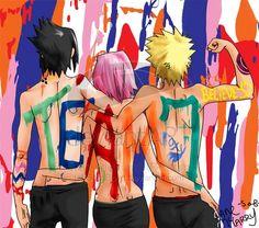 Sasuke, Sakura, & Naruto.