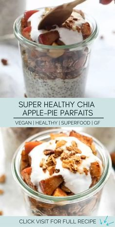 """These delicious apple pie breakfast parfaits are a perfect morning treat. They taste like dessert but are full of healthy ingredients like chia and oats! 👇 Click """"Visit"""" below for the full recipe 👇 Healthy Pie Recipes, Healthy Vegan Desserts, Yogurt Recipes, Parfait Desserts, Parfait Recipes, Recipes Breakfast Video, Healthy Breakfast Recipes, Vegetarian Breakfast, Pavlova"""