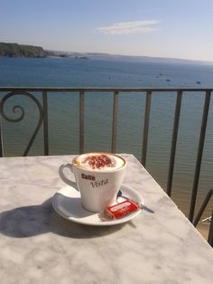 Morning coffee in Cafe Vista, Tenby :-)