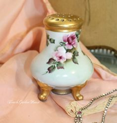 Antique Limoges Muffineer Sugar Shaker Hand Painted Pink Roses