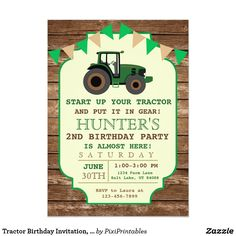 Tractor Birthday Invitation, Farm Birthday Card A perfect way to invite your guests to your little boy's birthday party! Great for a Tractor Birthday theme!