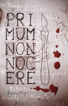 "Primum Non Nocere. ""First, do no harm."" The principle foundation of medical ethics."