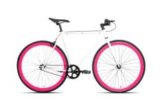 54cm CM Fixie Fixed Gear Single Speed Urban Road Bike Flip-Flop Hub BICYCLES 1 speed White / Pink