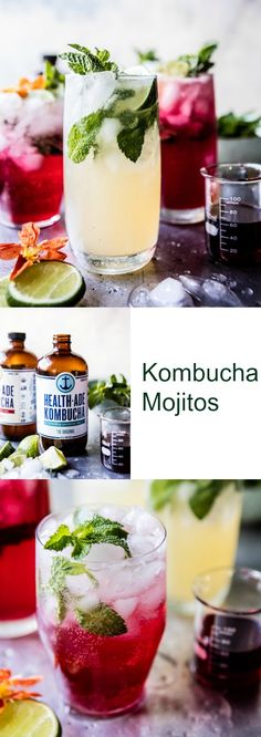 The Mojito has risen in the scores to start to be perhaps one of the most popular cocktails. Kombucha Cocktail, Cocktail Drinks, Fun Drinks, Yummy Drinks, Cocktail Recipes, Beverages, Mixed Drinks, Cold Drinks, Drink Recipes