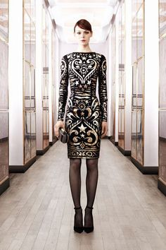 Emilio Pucci Pre-Fall 2012 Black Long Sleeve Dress with Gold Artsy Pattern Photograph