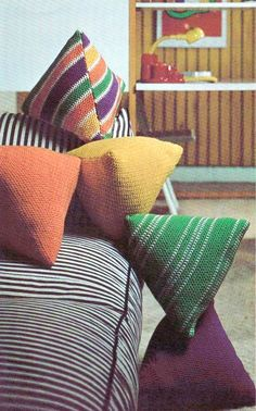 PDF Immediate Digital Delivery Vintage Crochet Pattern to make Easy Retro Humbug Sweet Shaped Scatter Sofa Bed Cushions or Pillows, or adapt to Bed Cushions, Crochet Cushions, Sewing Pillows, Crochet Pillow, Floor Cushions, Sofa Bed, Blanket Crochet, Outdoor Cushions, Crochet Granny