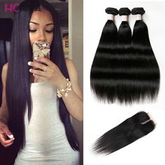 8A Malaysian Straight Hair With Closure 3 Bundles With Closures Cheap Human Hair With Closure Piece Straight HC Hair Weave