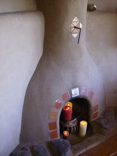 Kiva fireplace in Taos Earthship