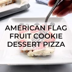 A favorite 5th of July dessert: American Flag Dessert Pizza. Sugar cookie crust, tangy sweet topping and fresh berries! #4thofJuly #dessertpizza
