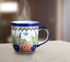 Classic mug. Artistic decoration number 149A. Hand-painted and signed by the artist.