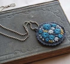 Hand-embroidered pendant necklace