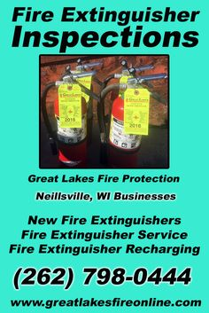 Fire Extinguisher Inspections Neillsville, WI (262) 798-0444 We're Great Lakes Fire Protection.. The Main Source for Fire Protection for Wisconsin Businesses. Call Today!  We would love to hear from you.
