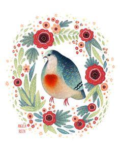 Canvas Birds - One of my favorite birds is the Bleeding Heart...
