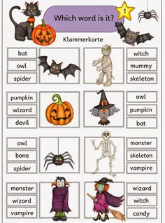 English Games, Kids English, English Activities, English Lessons, Learn English, Halloween Worksheets, Halloween Activities, Halloween Crafts, Flashcards For Kids