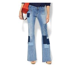 Soho Jeans - Patchwork Flare - Howling Blue Wash ($70) ❤ liked on Polyvore featuring jeans, slim jeans, wrangler retro jeans, flared leg jeans, new york & company jeans and flare leg jeans