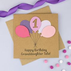 Personalised 1st birthday card Handmade ANY AGE birthday card | Etsy Birthday Card With Name, First Birthday Cards, Happy Birthday Name, Special Birthday, 2nd Birthday, Personalised Birthday Cards, Handmade Birthday Cards, Handmade Cards, Fun Cards