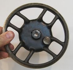 Antiques Other Architectural Antiques Vintage Cast Iron Winch Pulley Wheel 3 Chips On The Wheel