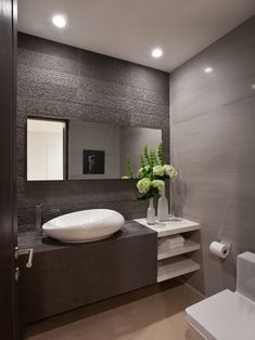 Bathroom Design, White Contemporary Powder Room Sinks With Unique Shape Design And Modern Faucet And Modern Bathroom Vanity Design And White Wonderful Vase With Beauty Flowers On It Also Minimalist Wall Design And Toilet: Powder Room Decorating Ideas at Y Powder Room Sink, Powder Room Decor, Minimalist Bathroom Design, Bathroom Vanity Designs, Modern Faucet, Bathroom Design Small, Beautiful Bathrooms, Bathroom Inspiration, Vanity Design