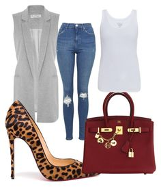 """""""Untitled #45"""" by meshlykana on Polyvore featuring Miss Selfridge, Topshop, Christian Louboutin, Hermès and Majestic"""