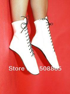 Alibaba グループ | AliExpress.comの レディースブーツ からの Sexy 18CM high heels black patent leather knee high ballet heel autumn boots for women,lace up mens fetish knee boots si 中の 女性18センチメートルかかと 少ないフェチホワイトpuレザーレースアップセクシーなバレエの足首の高ブーツ、 のアンクルブーツハイヒールのサイズ45