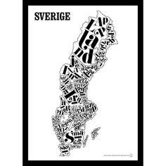 Sverigekart poster fra The Global Institute of Creation. En flott plakat som viser Sverige ovenfra. ...