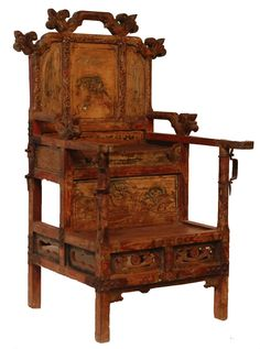 Chinese antique wooden Emperor's chair