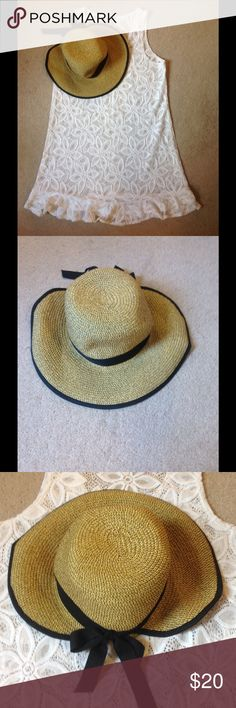 Sun hat! HBY Miami sun hat. 5 inch brim with black grosgrain ribbon lined brim that ties in the back. Made of paper straw. It is sized as a m/l. HBY Swim