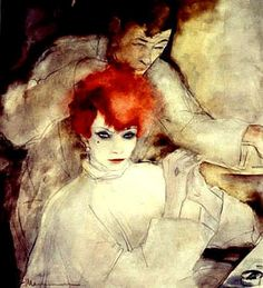 "Jeanne Mammen (German, 1890-1976) ~ She captured the powerful and sensual aspects of women during Weimar era Germany.  ""The Redhead"""