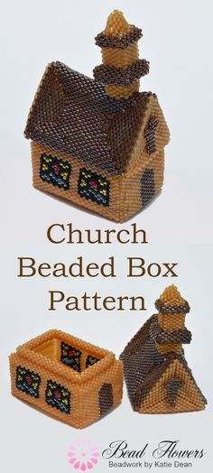 Beaded Box Pattern for a Church ~ Katie Dean ~ Beadflowers Beading Ideas, Beading Projects, Beading Tutorials, Peyote Beading Patterns, Peyote Stitch Patterns, Beaded Boxes, Box Patterns, Cardboard Art, Beaded Jewelry Designs