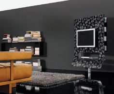 Choosing The Right Creative TV Stand Ideas For Our TV Room: Black Flower  Screen Printed Pattern Modern TV Stand By Doimoidea ~ Furniture Inspiration