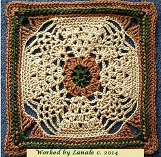 """Pineapple Expression 9""""/12"""" Afghan Block Square ~ free pattern ᛡ"""