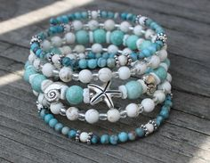 Turquoise & White Howlite Starfish and Seashell Memory Wire Bracelet, Beach Bracelet, Beach Jewelry, Summer Bracelet, Summer Jewelry by CathyCJewelryDesign on Etsy