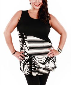 Loving this Black & White Abstract Sleeveless Tunic - Plus on #zulily! #zulilyfinds