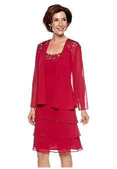 SL Fashions Long-Sleeved Chiffon Jacket Dress  Mother of the groom dress????