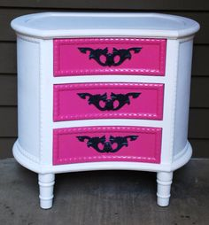 Vintage French Provincial Damask Hot Pink, White And Black Nightstand (sold Can…