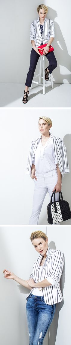 to wear the stripe blazer. Classic and simple. White on white with a dash of stripe. Cool and casual. Stripe Blazer, Walk The Line, Feeling Great, Art Direction, That Look, Stripes, My Favorite Things, Cool Stuff, Stylists