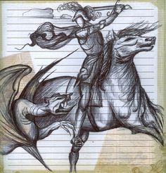 Un boceto a pluma de lo que puede ser San Jorge y el dragón, Pero tiene otro significado.