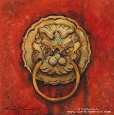 SOLD http://www.kimminichiello.com/Hong_Kong_Gatekeeper.html Living in Hong Kong Island I visited quite a few temples.  These beautiful brass door pulls graced many of the entrances.  #art #painting #watercolor #Asia #HongKong #travel