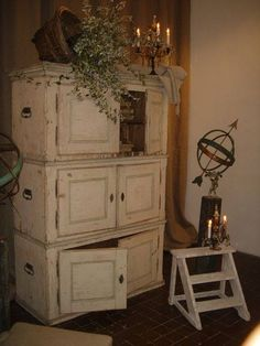 wall cabinets stacked on top each other to make a cupboard? I love the shabby look with the handles. Furniture Projects, Furniture Makeover, Home Projects, Diy Furniture, Chair Makeover, Furniture Removal, Furniture Refinishing, Cabinet Makeover, Country Furniture